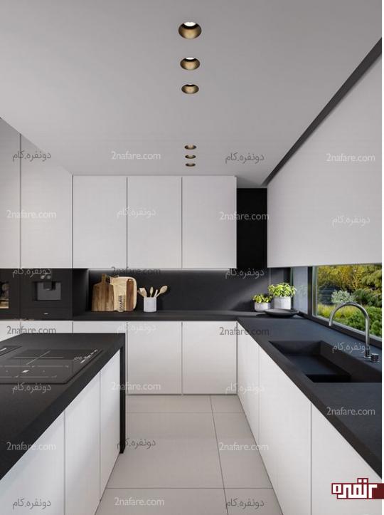 طراحی آشپزخانه با رنگ مونوکروم سیاه و سفید