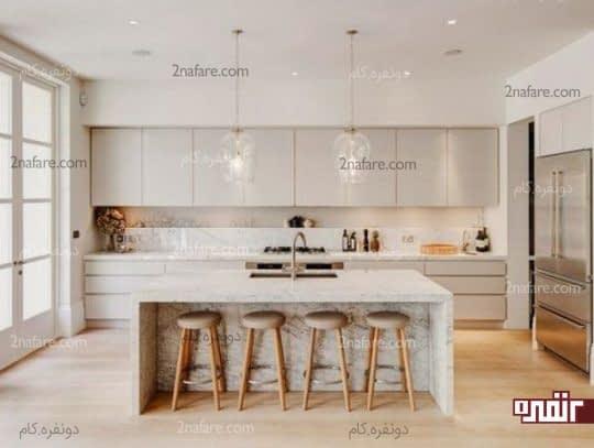 طراحی دکوراسیون آشپزخانه با رنگ های خنثی