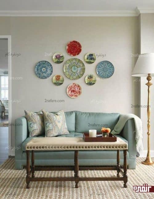طراحی دکور و تزیین دیوار با ظروف سنتی