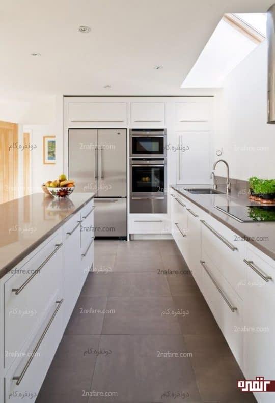 طرحی از رنگ های شیک و روشن برای آشپزخانه