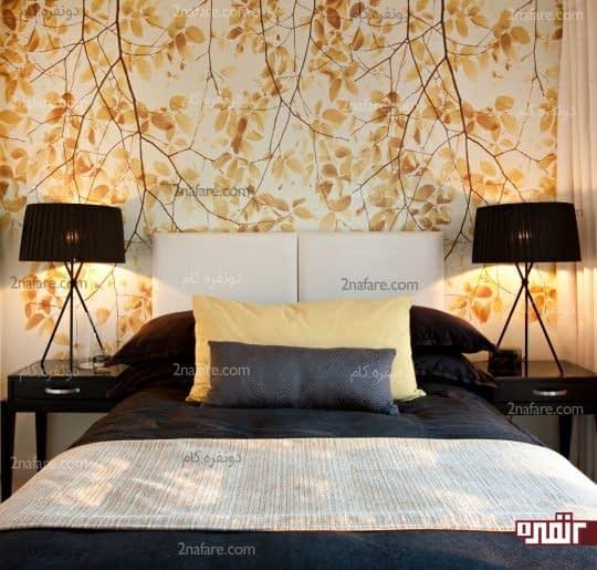 طرحی زیبا و شاد از کاغذ دیواری برای دیوار پشت تخت خواب