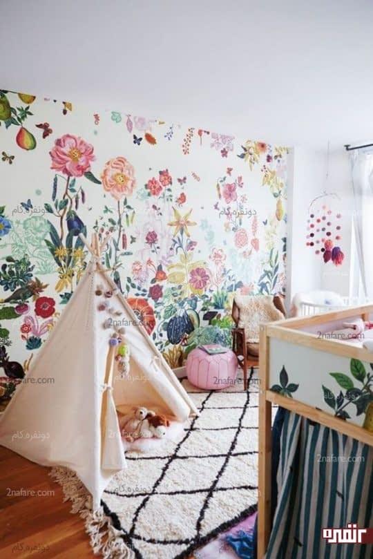 طرحی شاد و بسیار زیبا از کاغذ دیواری برای اتاق کودکان