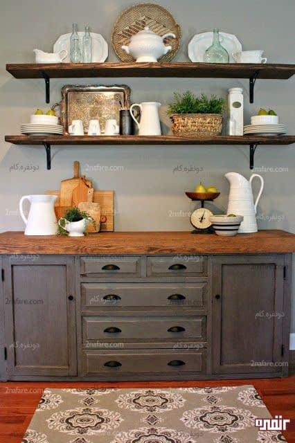 قفسه های چوبی و کنسول رنگ آمیزی شده برای آشپزخانه