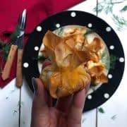 لقمه مرغ به شکل گل با خمیر یوفکا