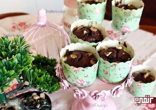 مافین شکلات موز و گردو