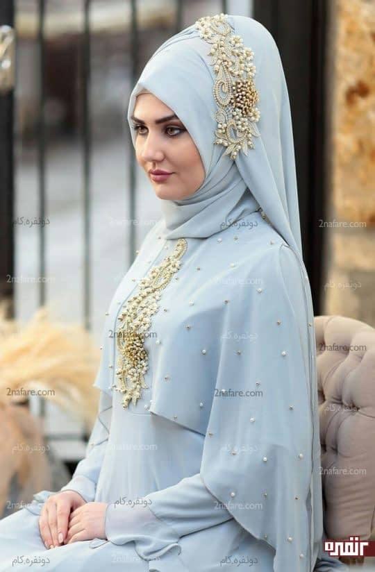 مروارید دوزی ست لباس روی روسری