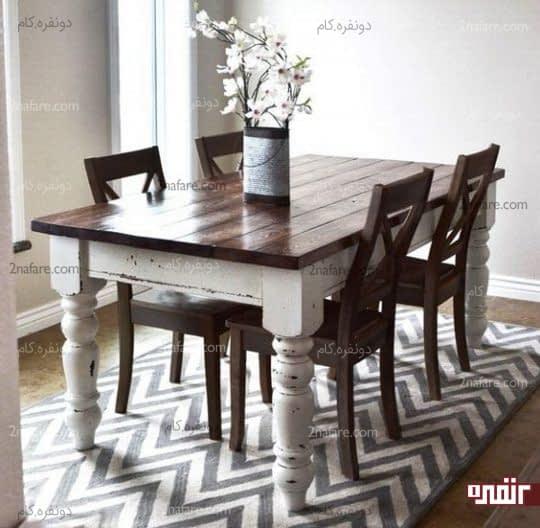 میز غذاخوری سفید و صندلی های قهوه ای