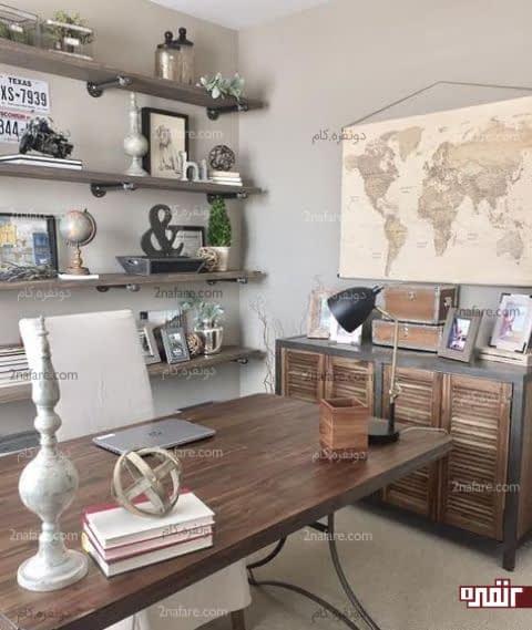 میز چوبی با پایه های فلزی و کنسول چوبی کرکره ای