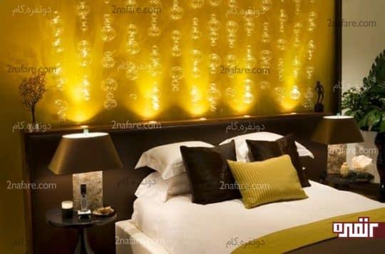 نورپردازی خاص برای دیوار پشت تخت خواب