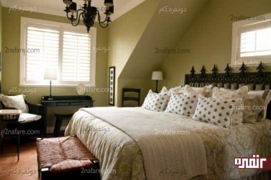 هماهنگی بین رنگ دیوارها و روتختی برای هماهنگی بیشتر در اتاق خواب