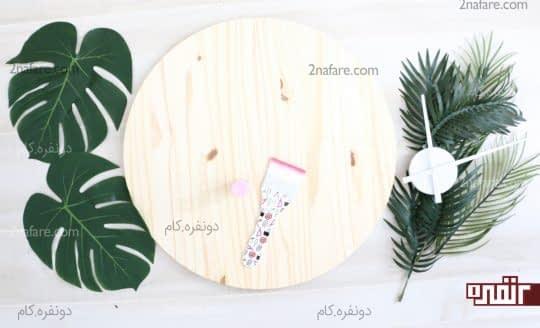 وسایل مورد نیاز برای ساخت ساعت دیواری چوبی صورتی