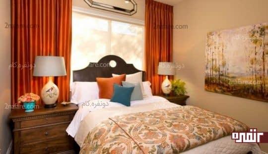 پرده ی نارنجی اتاق خواب