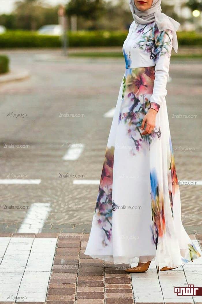 مدل لباس بلند حریر با کت