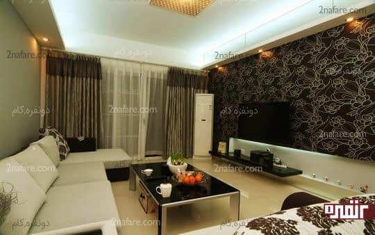 کاغذ دیواری از بهترین انتخاب ها برای دیوار پشت تلویزیون در اتاق نشیمن