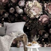کاغذ دیواری با طرح گل های زیبا برای اتاق نشیمن