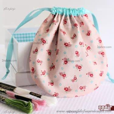 کیف پارچه ای زیبا برای لوازم خیاطی