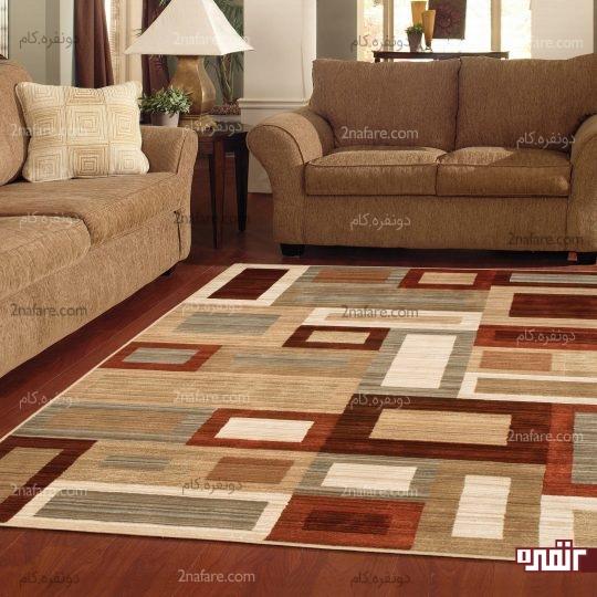 گذاشتن فاصله ای مشخص بین مبل ها و فرش در اتاق نشیمن