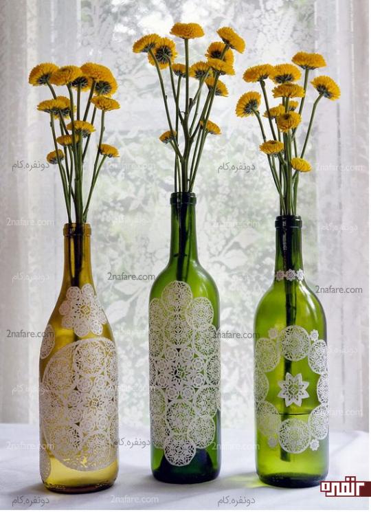 گلدان های دکوری از شیشه های ساده