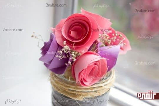آموزش ساخت گل رز کاغذی مرحله به مرحله