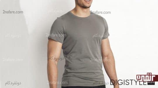 تی شرت طوسی مردانه
