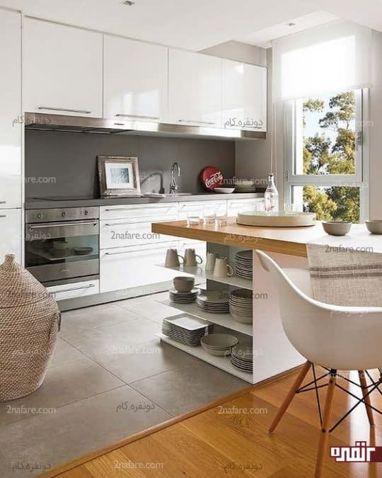 آشپزخانه مدرن،کوچک و مرتب