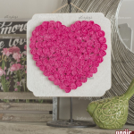آموزش ساخت تابلو طرح قلب با گل کاغذی