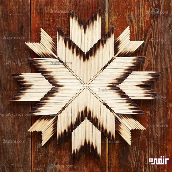 آموزش ساخت آویز دیواری ستاره با چوب کبریت