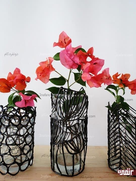 آموزش ساخت گلدان با شیشه و چسب حرارتی