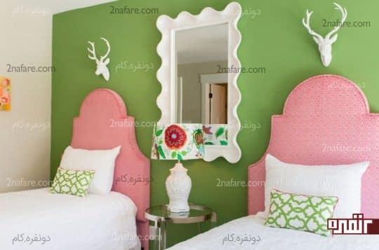 اتاقی دخترانه و زیبا با ترکیب رنگ های سبز و صورتی