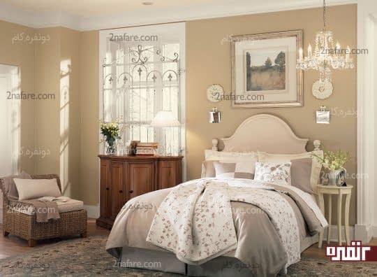 اتاق خوابی آرامش بخش و زیبا با رنگ های روشن