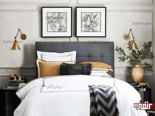 اتاق خوابی جذاب و زیبا با استفاده از پراغ های دیواری پایه دار
