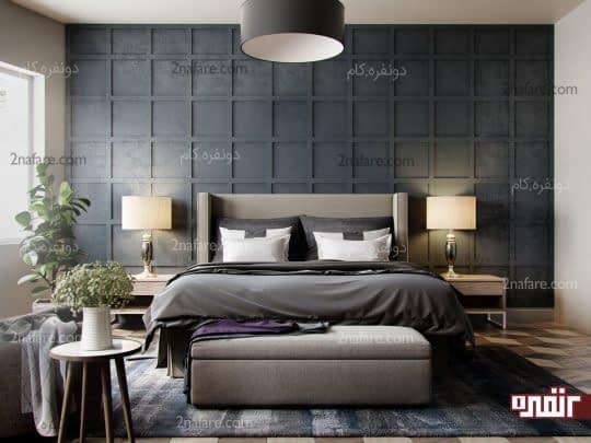 اتاق خوابی زیبا و مدرن با ترکیب تناژهای مختلف رنگ خاکستری