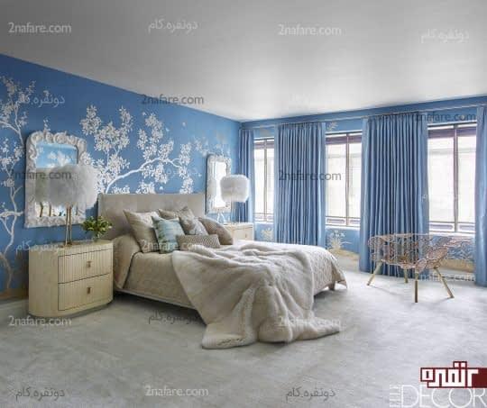 اتاق خواب آرامش بخش با ترکیب رنگ های سفید و آبی
