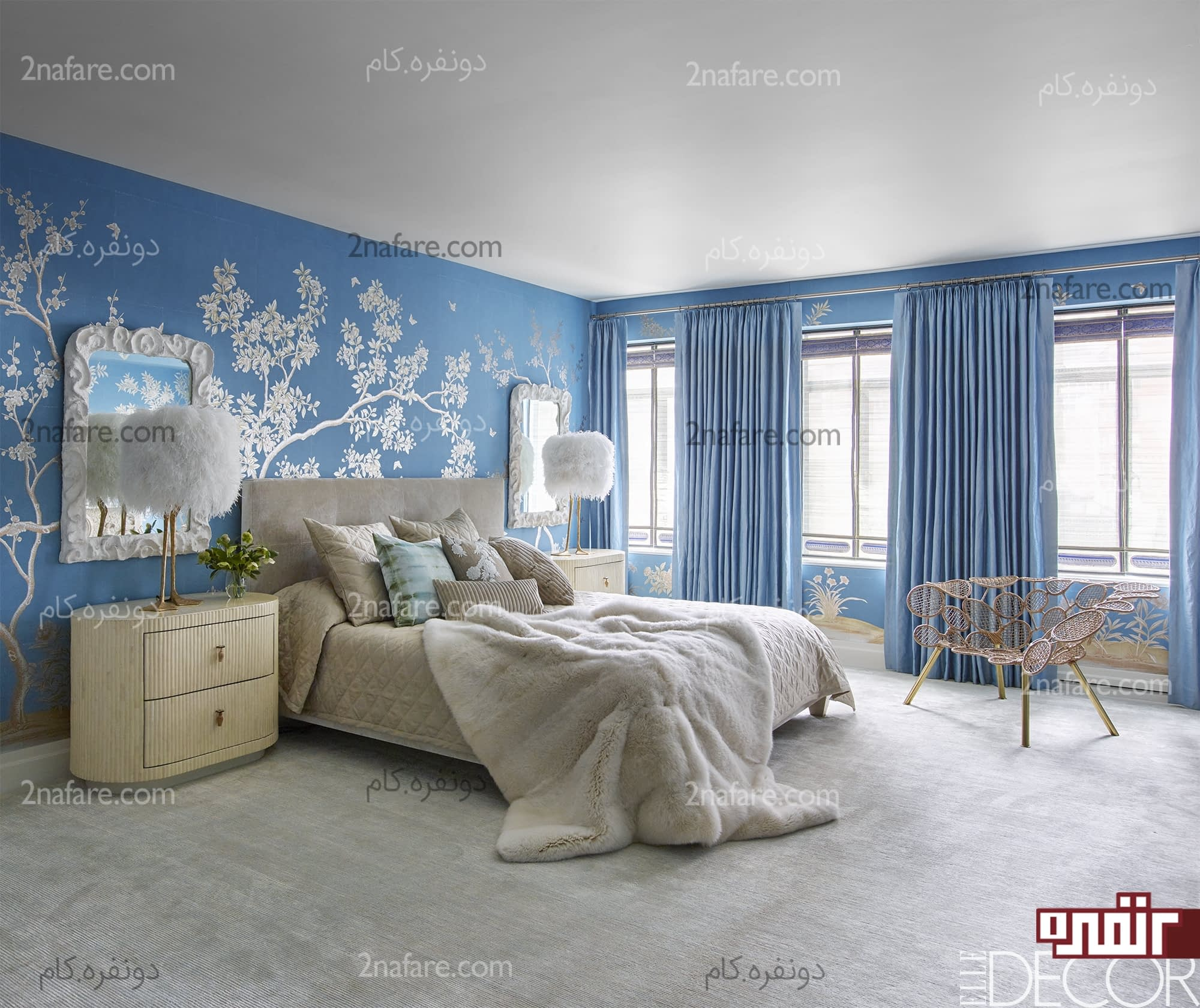 Light Grey Blue Bedroom Images Of Black Bedroom Furniture Bedroom Wallpaper And Curtains To Match Bedroom Bay Window Curtain Ideas: چگونه رنگ اتاق خواب رو انتخاب کنیم؟ €� دونفره