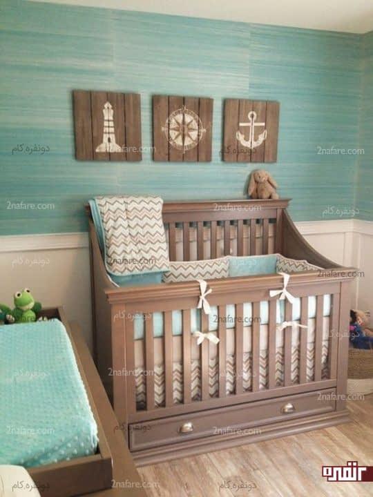 اتاق خواب جذاب و مدرن کودک با مبلمان چوبی