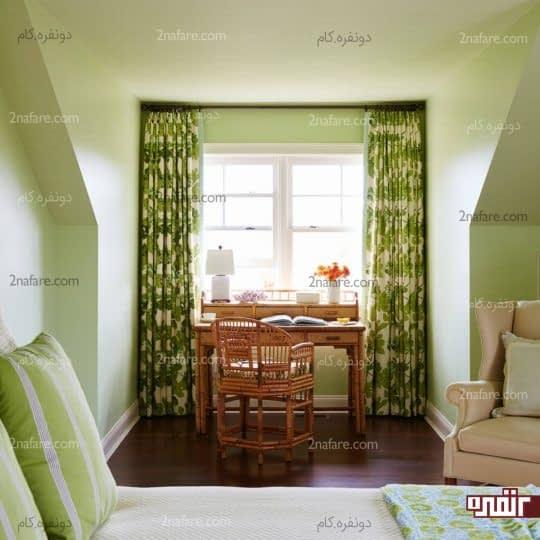 اتاق خواب دنج و مدرن با رنگ سبز
