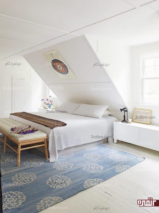 اتاق خواب سفید مدرن و دنج زیرشیروانی