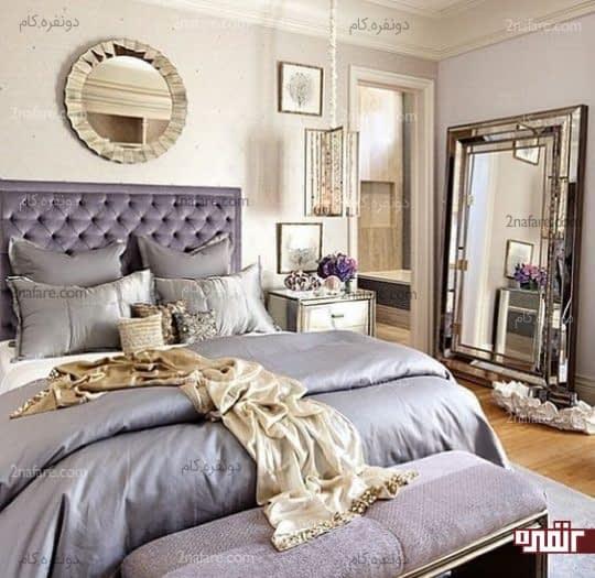 اتاق خواب شیک و لوکس با رنگ های خنثی و آینه های براق