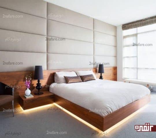 اتاق خواب مدرن با تخت خواب چوبی دارای نور مخفی و میز شناور