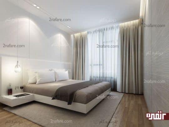 اتاق خواب مدرن با دورنگ سفید و خاکستری