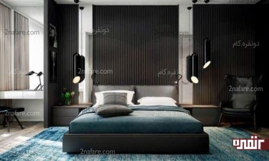 اتاق خواب مدرن با لامپ های آویز مشکی و زیبا