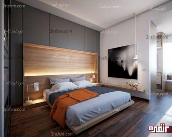 اتاق خواب مدرن با نور چند لایه و تخت شیک چوبی
