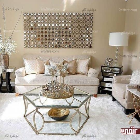 اتاق نشیمن با رنگ های خنثی و ملایم