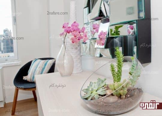 استفاده از تراریون و گلدان های زیبا در کنار هم