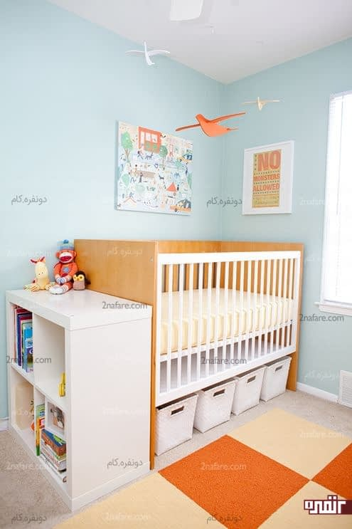 استفاده از فضای زیر تخت و قفسه های جادار برای مرتب سازی اتاق کودک