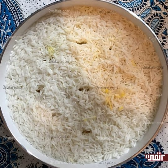 اضافه کردن مابقی برنج
