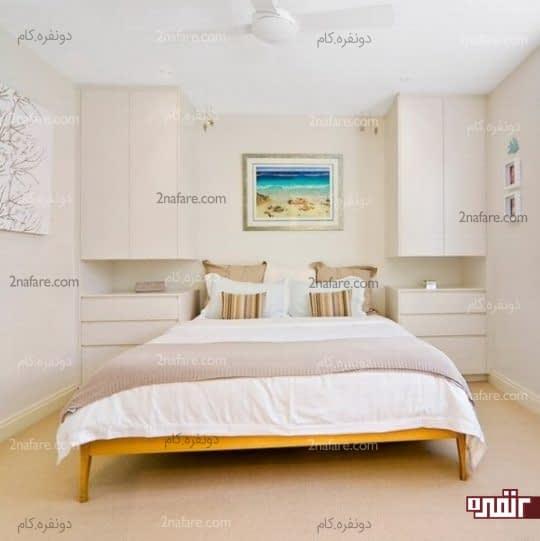 امتداد قفسه های اتاق خواب تا سقف