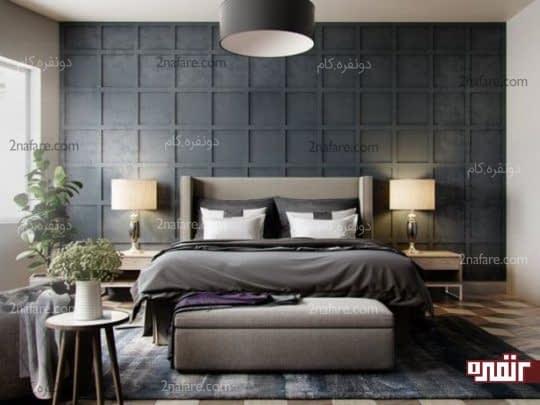 انتخاب یک جفت آباژور و چراغ آویز هماهنگ با رنگ اصلی دکور اتاق خواب