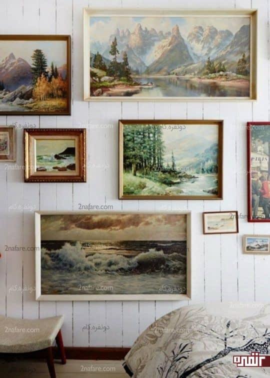 تابلوهایی در فریم های مختلف با موضوع طبیعت در کنار هم