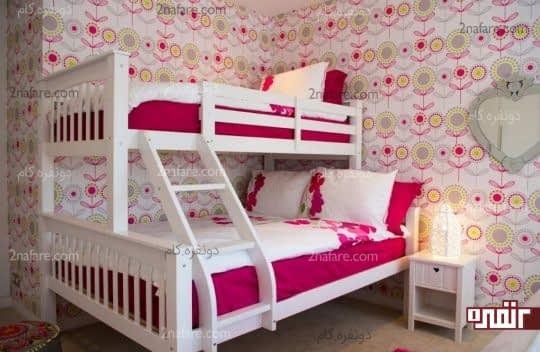 تخت خواب دو طبقه با دو فضای متفاوت در اندازه